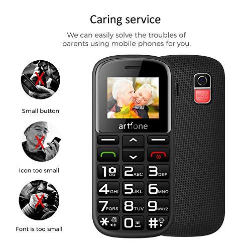 Artfone GSM téléphone Senior Portable Débloqué avec Grandes Touches, Bouton SOS, 1400mAh Batterie 5