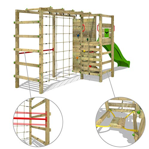 This versatile backyard play centre offers endless play and fun activities to all kids aged 3+ years. There's practically no end to the many ways they can use the climbing frame, with a climbing wall, rope, slide, basketball hoop, climbing net, and gymbar. Parents who want to get kids moving and active for hours can count on this FATMOOSE Climbing Frame ActionArena.