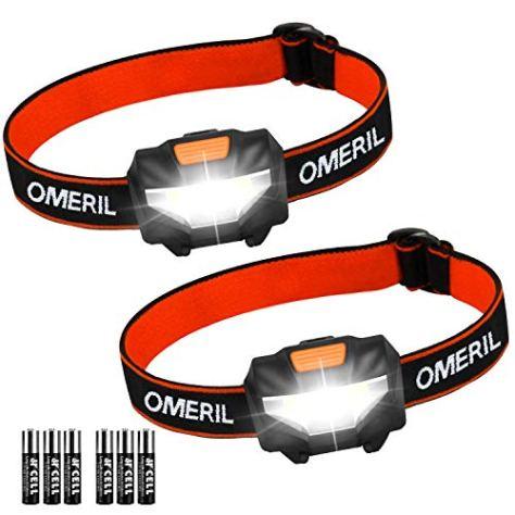 Stirnlampe Kopflampe OMERIL Stirnlampe LED [2 Stück] Superhell Wasserdicht Leichtgewichts Mini Stirnlampen fürs Laufen, Joggen, Angeln, Campen, für Kinder und mehr (inkl. 6 AAA Batterie)