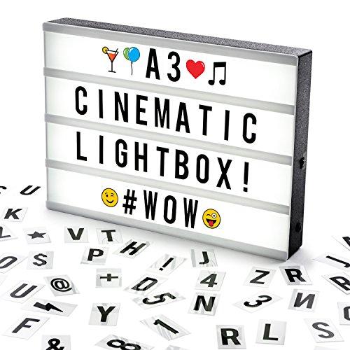 Cosi Home - Scatola luminosa LED in formato A3 con Lettere, Emoji, Faccine e Simboli per Messaggi...