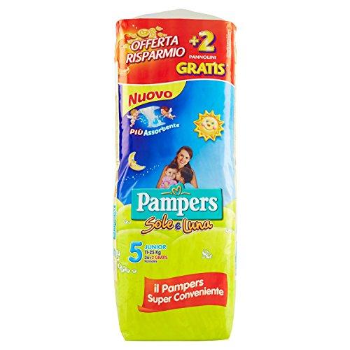 Pampers Sole e Luna Pannolini Junior, Taglia 5 (11-25 kg), 2 Confezioni da 19 (38)