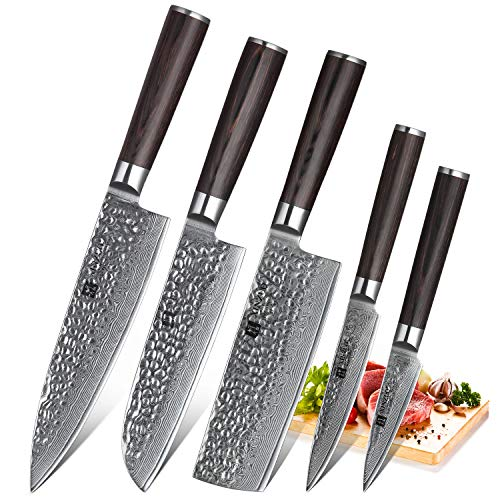 INZUO Set di Coltelli Damasco 5 Pezzi Coltello Chef 20cm Coltello Santoku 17,6cm Coltello Nakiri...