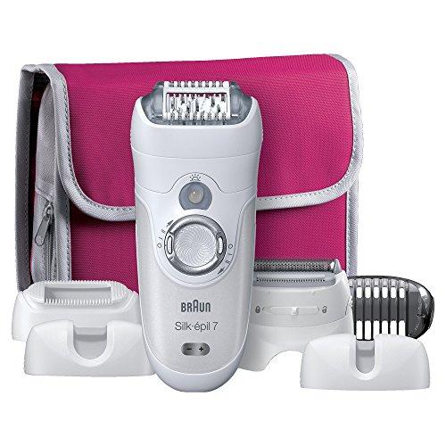 Braun Silk-épil 7 7-561 - Depiladora eléctrica con tecnología Wet & Dry, sin cable, edición regalo con 6 accesorios y estuche de viaje