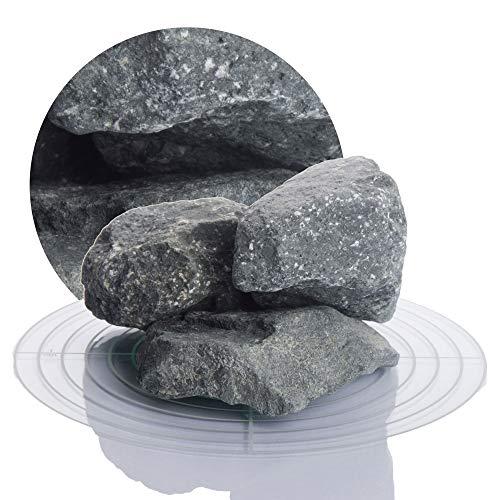Deutsche Diabas Saunasteine 20 kg 5-8 cm oder 8-12 cm, hochwertige Aufgusssteine für den Saunaofen, vorgewaschen (8-12 cm)