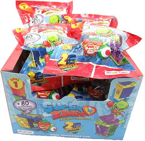 MAGICBOX SUPERZINGS Box Completo 12 Bustine 2 Personaggi (1 Eroe e 1 Nemico) + 2 Nascondigli Ognuna - 24 Personaggi e 24 nascondigli in Totale - Originale Super Zings Rivals of Kaboom Serie 1