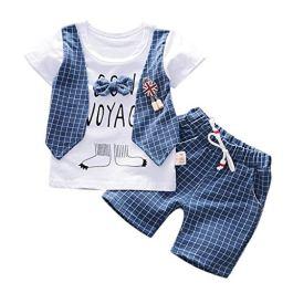 Daoope Bambino Abbigliamento Elegante Completo Ragazza Abbigliamento Bimbi Estate 18 Mesi T-Shirt Bambino Jeans Ragazzo Gentry Vestiti Set Tops Pantaloncini Due Pezzi Set
