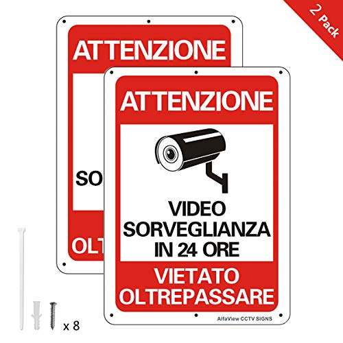 AlfaView Cartelli Segnali Videosorveglianza 10'x 7' Alluminio UV protetto e impermeabile Nessun metallo trasgredicente Segnale di sicurezza riflettente di sicurezza per casa d'affari (2 x Pack)