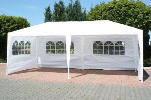 FoxHunter Waterproof 3m x 6m PE Gazebo Marquee Awning Party Tent Canopy White 120g PE Power Coated Steel Frame