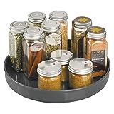 mDesign Plato giratorio para estantes de cocina - 22,9 cm de diámetro - Práctico soporte para especias para los armarios de la cocina - Especiero giratorio de plástico - gris antracita