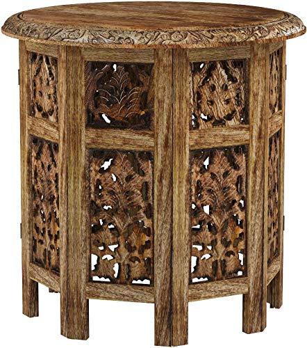 Marrakesch Orient & Mediterran Interior Tavolino Marocchino in Legno Ashkar 45cm Rotondo - Tavolino Tondo Orientale con Struttura Pieghevole - Piano Pieghevole,Orientale in Marrone.