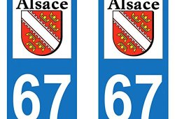 Paire Sticker immatriculation 67 – Bas Rhin Prix
