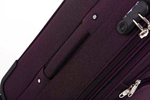 BEIBYE 8005 Stoffkoffer Gepäck Koffer 4 Rollen Reisekoffer Trolley Gepäckset SET in 6 Farben (Lila) - 5