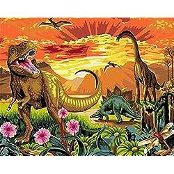 Kit de pintura al óleo por número para niños adultos principiantes de 40 x 50 cm – dinosaurios, dibujo con pinceles decoración de Navidad regalos Without Frame