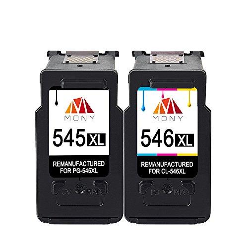 Mony Rigenerata Cartuccia d'inchiostro per Canon PG-545 CL-546 XL (1 Nero e 1 Tricromia) ad Alta...