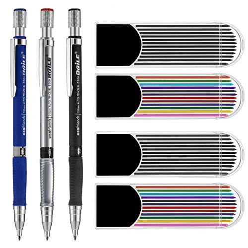 Weforu - Set di portamine da 2,0 mm con 3 matite, 4 astucci, 2 ricariche di piombo (2 colori), 1...