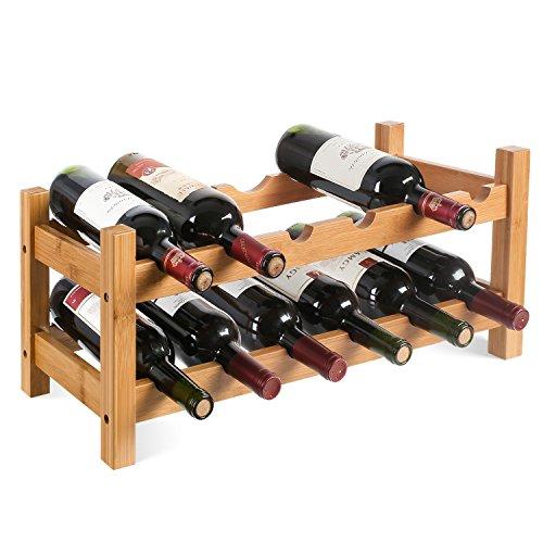 HOMFA Cantinetta Portabottiglie in Bambù per 12 Bottiglie, Scaffale Legno Porta Vino a Tavolo da...
