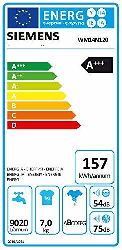 Siemens WM14N120 iQ300 Waschmaschine FL / A+++ / 157 kWh/Jahr / 1390 UpM / 7 kg / Weiß Outdoor / Imprägnier-Programm - 2