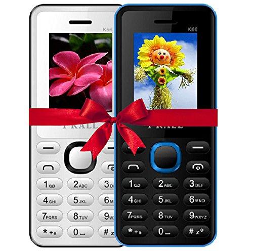 I KALL 4.57 cm (1.8 Inch) Mobile Phone Combo - K66 (White & Blue)