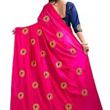 Kuvarba Fashion Paper Silk Embroidered Saree with blouse piece