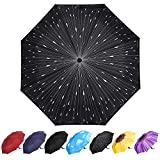 YumSur Parapluie Pliant, Automatique Ouverture et Fermeture Résistant à Tempête Compact Léger Parapluie de Voyage pour Homme et Femme, Gouttes de Pluie Impression