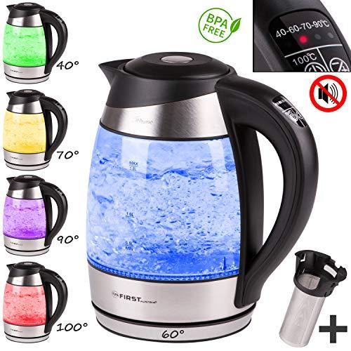 TZS First Austria -1,8L Glaswasserkocher mit Teesieb Kalkfilter, Wasserkocher mit Teeeinsatz LED Beleuchtung-Farbe je nach Temperaturwahl 40, 60, 70, 90, 100°C, Warmhaltefunktion, schwarz Teeeinsatz
