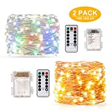 Guirnalda Luces 10M 100 LED, BAKTH Cadena de Luces Impermeable IP67, Luces Navidad Pilas y Luces de Hadas para Decorativas, Navidad, Habitacion, Fiesta, Jardín, Bodas, Césped
