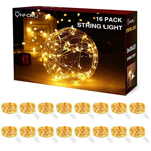 Onforu 16 Pezzi 3M Stringa Luci LED a Batteria, IP68 Impermeabile Catena Luminosa 30 LEDs con Filo Rame, Bianca Calda LED Decorative per Giardino Camera Feste Natale Matrimonio