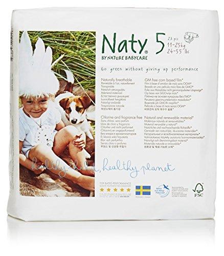 Naty by Nature Babycare Pannolini Ecologici, Taglia 5 (11-25 kg) - 4 Confezioni da 23 Pezzi