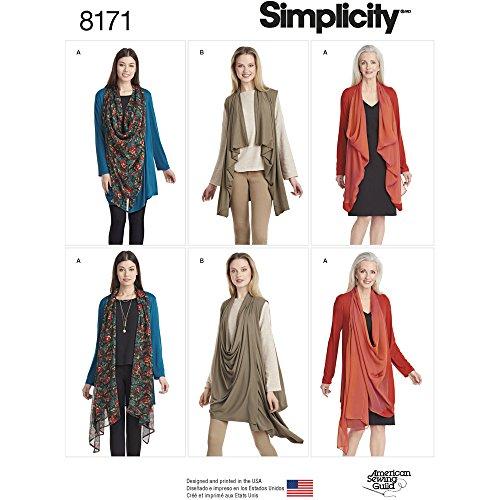 Simplicity 8171 Misses' Knit Cardigan or Vest, A (XX-Small/X-Small/Small/Medium/Large/X-Large/XX-Large)