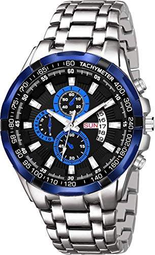 MELVIN Black Blue Dial with Silver Chain Day Date Analog Quartz Casual Formal Wrist Watch for Men/Boys