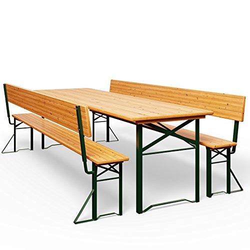 Bierzeltgarnitur mit Rückenlehne und Tisch 170x70cm - Holzgarnitur Bierzelt Festzeltgarnitur Sitzgruppe Sitzgarnitur
