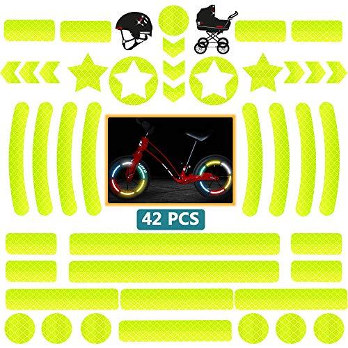 DZSEE Pegatinas Reflectantes, Pegatinas para Cascos de Moto, 42 Piezas Pegatinas Reflectantes Kit, Adhesivo Universal para Bicicleta/Cochecito/Casco/Moto/Motocicleta, Visibilidad de Noche (Amarillo)