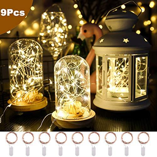 Kindax 9 Pezzi Luce Stringa LED per Bottiglie Incluso 3 Pezzi Catena Luminosa Multicolore, 2M 20...