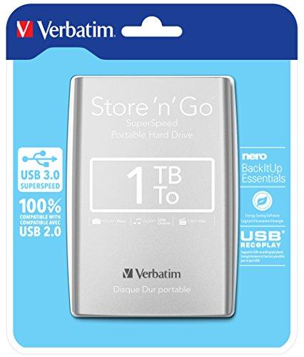 Verbatim Store 'N' Go - Hard Disk Esterno Portatile, USB 3.0, Argento, 1 TB
