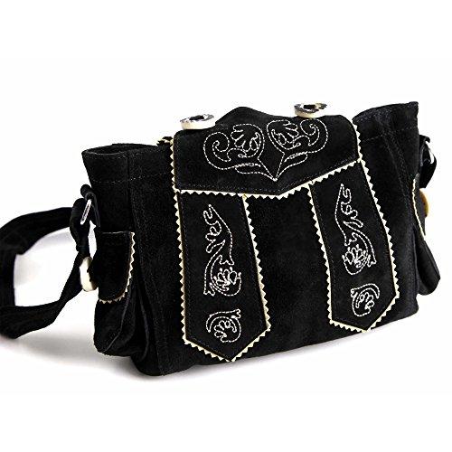 Almbock Trachten-Tasche Betti in schwarz - für Damen, modern, für Hochzeit oder Oktoberfest kaufen, in Lederhosen-Design aus Rinds-Leder - 2