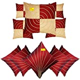 FAB NATION Embroidered Dupion Silk Fabric Cushion Covers (Maroon, 16x16 Inches)