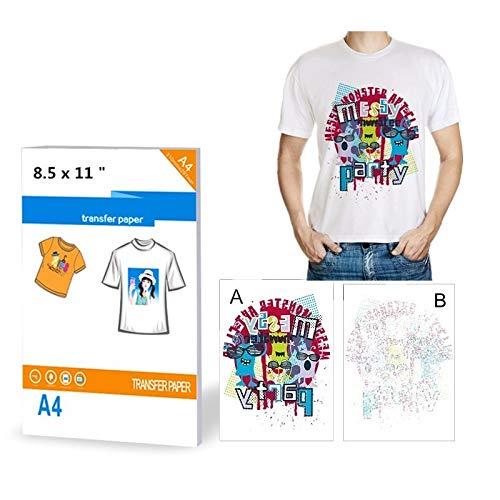 10 fogli di carta trasferibile per magliette, stampanti, formato A4, con ferro da stiro, per tessuti...