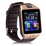 Jiazy Bluetooth 3.0 Smart Watch Reloj Inteligente con Cámara ranura para tarjeta SIM con Podómetro Función Anti-perdida Soporte de notificación de mensajes / Sleep Monitor Compatible para Android Sumsung HUAWEI Sony teléfonos inteligentes (Oro)