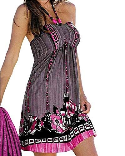 Minetom Las Mujeres Verano Retro Nacional del Viento Flojo Cuello Redondo Vestido Sin Mangas Ocasional De La Playa Rose ES 36