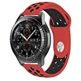 iBazal 22mm Cinturino Silicone pour Samsung Gear S3 Frontier/Classic SM R760, Moto 360 2nd Gen 46mm, Huawei Watch 2 Classic   Rosso/Nero