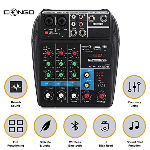 Congo A4 4-Channels Audio Mixer Sound Mixer Console with Bluetooth USB Record 48V Phantom Power Monitor Paths Plus Effects Use for home music production, webcast, Karoake song