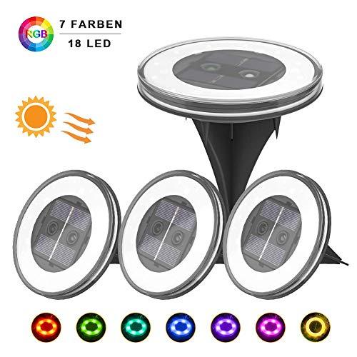4 Pezzi Luce Sepolta Solare, UOUNE 18 LED Lampade da Giardino Solari,Due modalità,IP67...