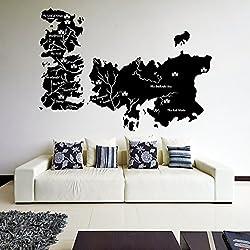 Vinilo decorativo de pared de vinilo, (180x 128cm) Mapa del Mundo Game of Thrones adhesivo de póster de castillos/Atlas Shiluette con/Reino Unido Westeros Mural + Gratis Al azar adhesivo Regalo