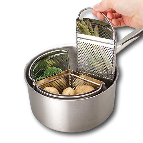 Triplo divisore e divisore per casseruola - Risparmia energia e spazio durante la cottura. Filtro in...