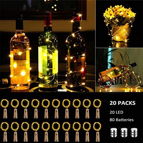 BACKTURE Luci per Bottiglia [20 Pezzi], Luci Stringa per Bottiglia di Vino, 2M 20LED Catena Luminosa Impermeabile per DIY, Natalizie, Halloween, Matrimonio, Idea regalo - Bianco caldo