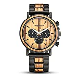 Wooden Watches, shifenmei S5588 Japanese Movement Lightweight Wooden Watches for Men Analog Quartz Wooden Strap Handmade Retro Wood Wrist Watches with Gift Box (Zebra Wood)