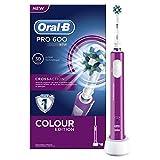 Oral-B PRO 600 CrossAction - Cepillo de dientes eléctrico recargable con tecnología Braun, edición purple