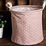 Kicode Sabana de algodon plegable Lave la ropa de la cesta de lavadero Con elegante diseño del lunar por Dormitorios de