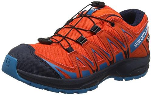 Salomon XA Pro 3D CSWP J, Calzado de Trail Running Impermeable para Niños, Rojo (Cherry Tomato/Navy Blazer/Fjord Blue), 32 EU