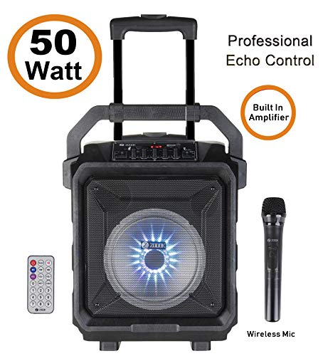 Zoook Rocker Thunder XL 50 watts Trolley Karaoke Bluetooth Party Speaker with Remote, Built-in Amplifier & Wireless Mic(Black)